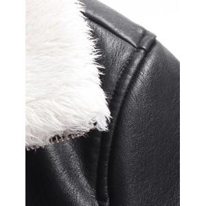 Stand Collar Flocking Faux Leather Jacket -