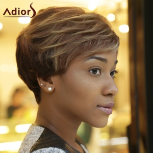 Adiors Short Fluffy Curly Side Bang Highlight Synthetic Wig - COLORMIX