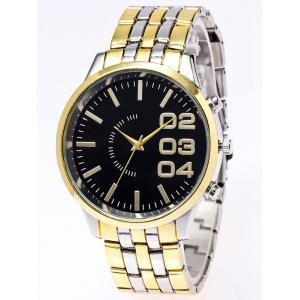 Stainless Steel Watchband Quartz Watch - Black