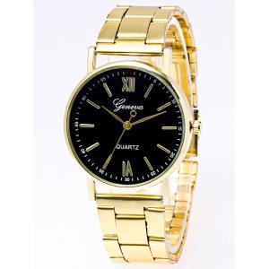 Stainless Steel Watchband Roman Numerals Watch - Black
