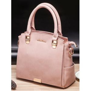 Faux Leather Double Pocket Zipper Tote Bag - PINK