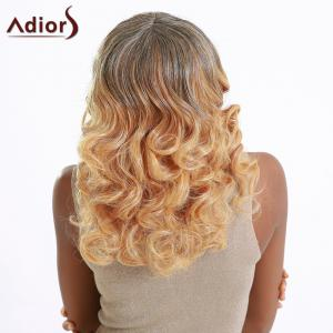 Attractive Medium Fluffy Curly Full Bang Gradient Women's Synthetic Hair Wig -