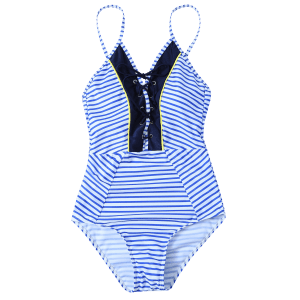 Lace Up Criss Cross Striped Swimwear -