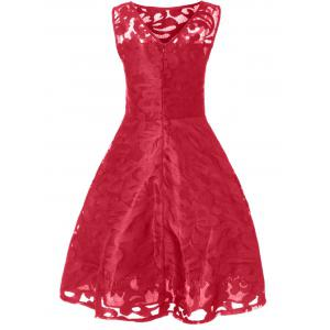 Sheer Lace Plus Size Vintage Party Short Prom Dress - BRIGHT RED 5XL