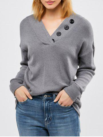 Unique Button Decorated Ribbed Knitwear DEEP GRAY M