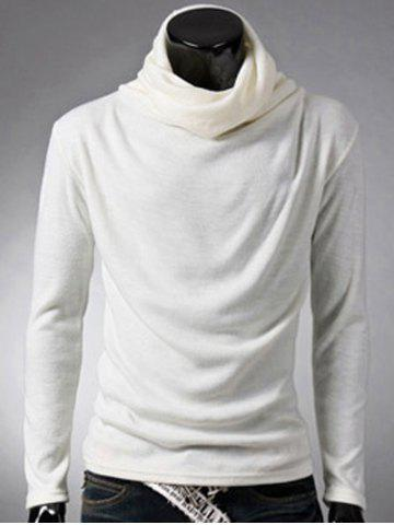 Hot Brief Style High Neck Long Sleeve T-Shirt WHITE 2XL