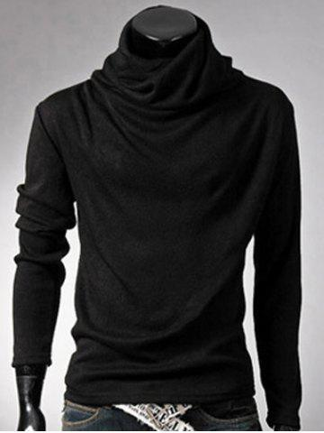Best Brief Style High Neck Long Sleeve T-Shirt - 2XL BLACK Mobile