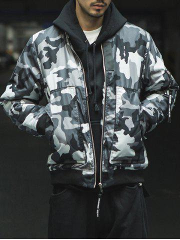 Shops Zip Up Stand Collar Camo Bomber Jacket