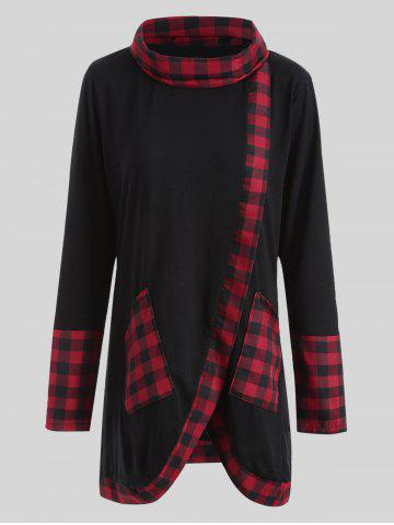 Plus Size Plaid Insert Asymmetrical Tee - Black And Red - 2xl