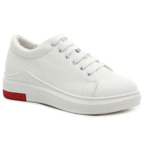 Discount Faux Leather Tie Up Athletic Shoes