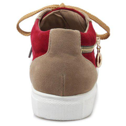 Chic Zipper Tie Up Athletic Shoes - 37 DEEP RED Mobile