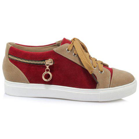 Sale Zipper Tie Up Athletic Shoes - 37 DEEP RED Mobile