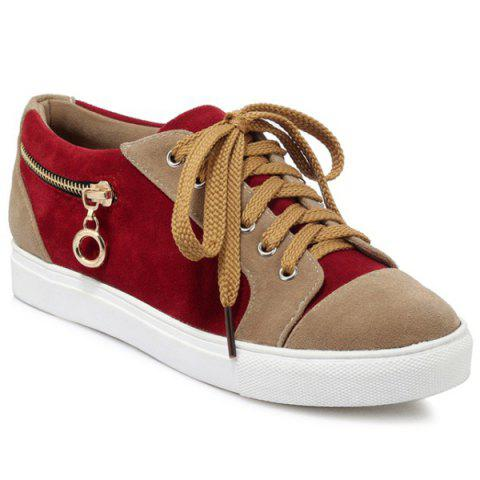 Zipper Tie Up Athletic Shoes - DEEP RED 37
