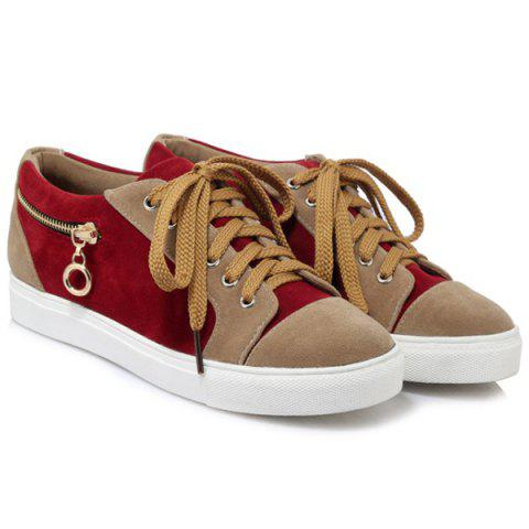 Shops Zipper Tie Up Athletic Shoes - 37 DEEP RED Mobile