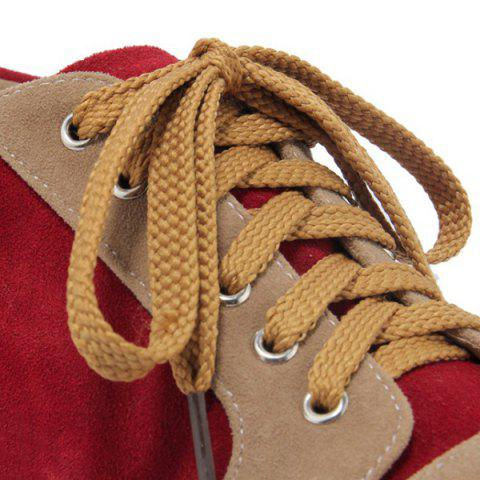 Affordable Zipper Tie Up Athletic Shoes - 37 DEEP RED Mobile