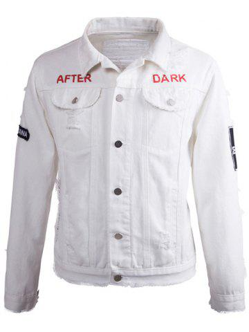 Latest Printed Buttoned Ripped Denim Jacket - XL MILK WHITE Mobile