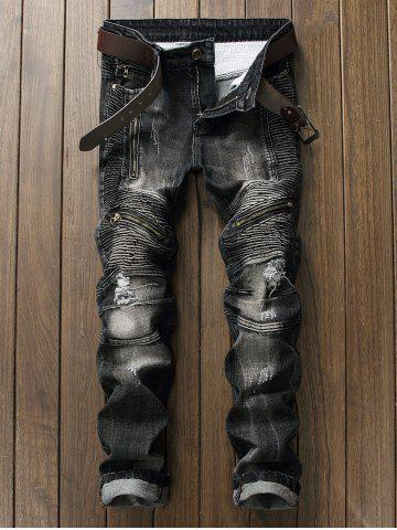 Rib Panel Zippered Ripped Jeans