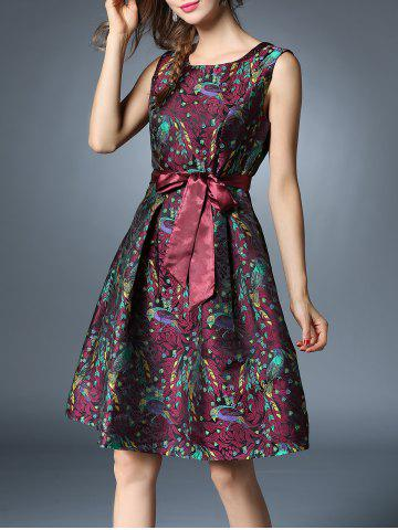 Chic Bird Jacquard Knee Length Dress With Belt DARK RED L