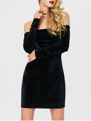 Off The Shoulder Long Sleeve Bodycon Velvet Dress - Black - S