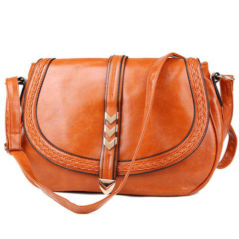Braid Faux Leather Crossbody Bag - Light Brown - 6xl