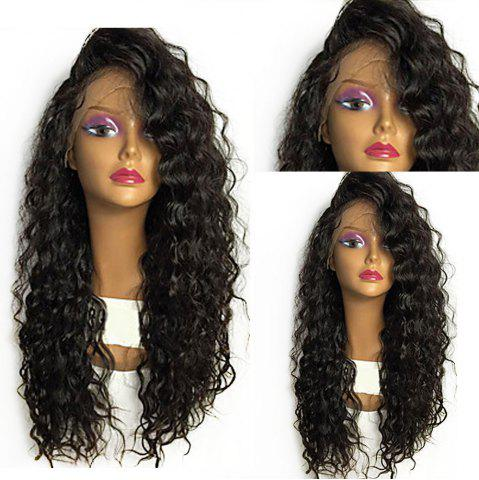 Discount Shaggy Long Curly Heat Resistant Fiber Lace Front Wig - BLACK  Mobile