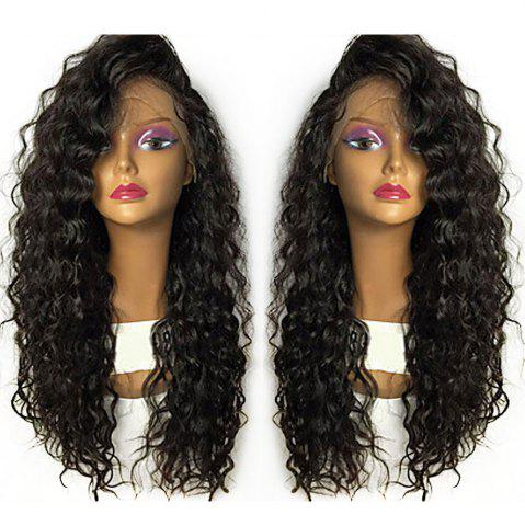 Affordable Shaggy Long Curly Heat Resistant Fiber Lace Front Wig - BLACK  Mobile