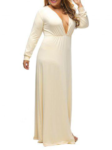 Plunge Plus Size Slit Maxi Dress With Long Sleeves - Beige - Xl