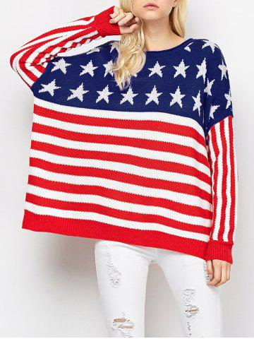 Chic Color Block America Flag Pullover Sweater RED AND WHITE 2XL
