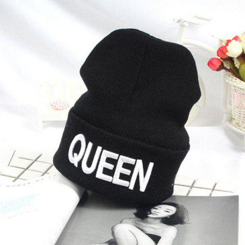 Affordable Flanging Knitted Beanie with Queen Embroidery - WHITE  Mobile
