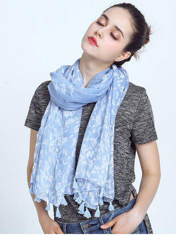 Fancy Oblong Leaf Print Voile Scarf with Tassel Pendant Edge SKY BLUE
