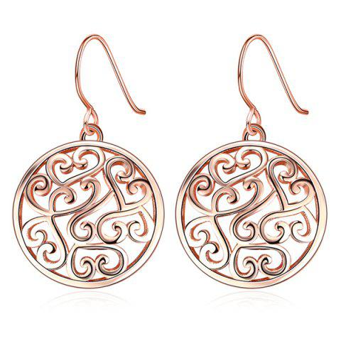 Filagree Round Drop Earrings - Rose Gold