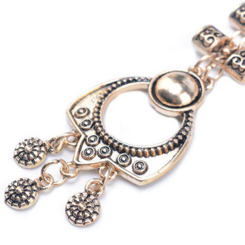 Outfit Embossed Longevity Lock Pendant Sweater Chain - GOLDEN  Mobile