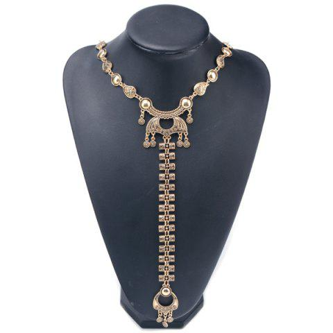 Hot Embossed Longevity Lock Pendant Sweater Chain