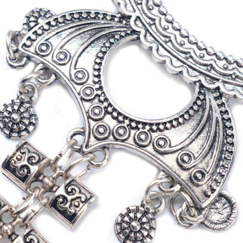 Outfit Embossed Longevity Lock Pendant Sweater Chain - SILVER  Mobile