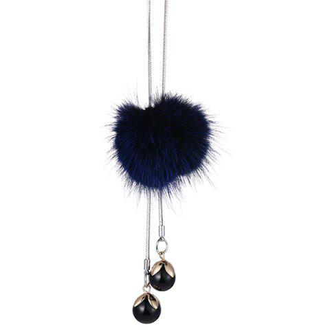 New Fuzzy Ball Double Beads Sweater Chain - BLUE  Mobile
