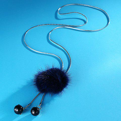 Store Fuzzy Ball Double Beads Sweater Chain - BLUE  Mobile