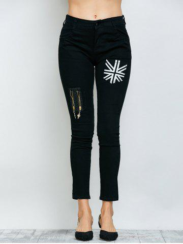 Outfits Flag Print Zipper Design Jeans - 29 BLACK Mobile