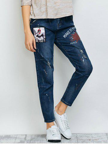 Distressed Printed Patch Design Jeans - Deep Blue - 26