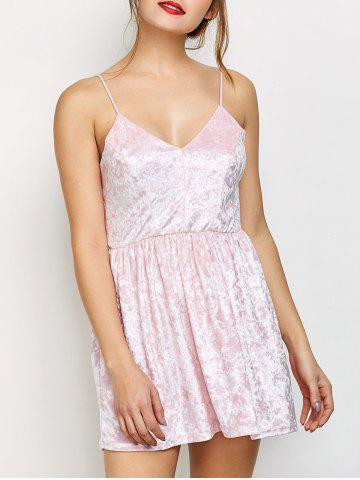 Velvet Criss Cross Backless Mini Dress - PINK M