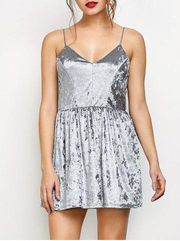 Store Velvet Criss Cross Backless Mini Dress GRAY M
