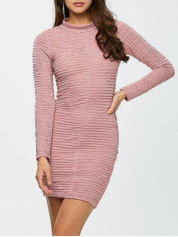 Chic Long Sleeve Ruched Bandage Bodycon Dress PINK S