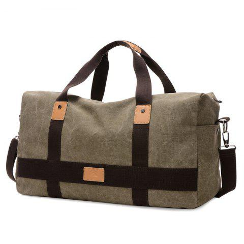 Double Pocket Zipper Canvas Tote Bag - Olive Green - 40