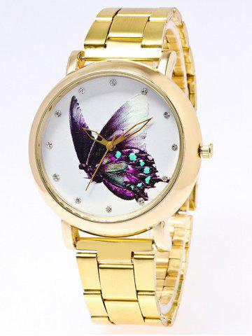 Rhinestone Butterfly Printed Stainless Steel Watch - Golden