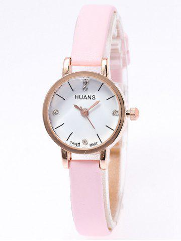 Affordable PU Leather Rhinestone Watch PINK