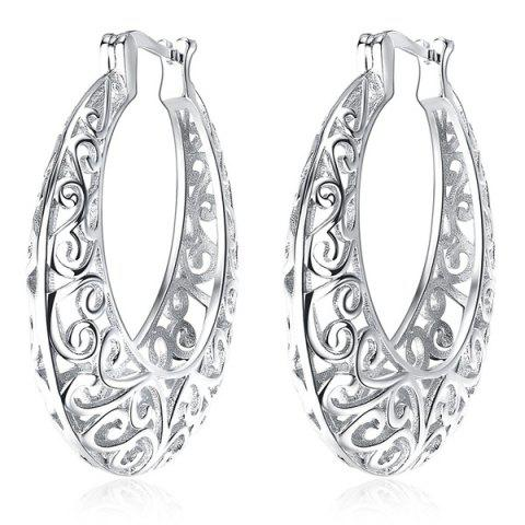 Statement Hollow Out Hoop Earrings - Silver