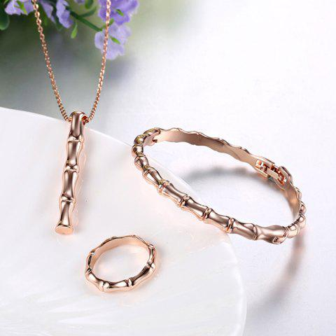 Outfit Bamboo Circle Necklace Bracelet and Ring - ONE-SIZE ROSE GOLD Mobile