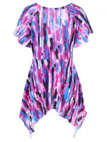 Latest Asymmetrical Plus Size Tie-Dye T-Shirt - 2XL COLORMIX Mobile