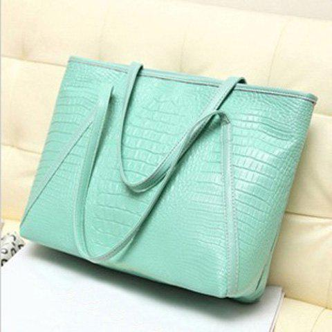 Crocodile Embossing Faux Leather Shoulder Bag - Green