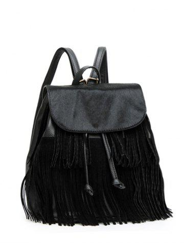 Textured Faux Leather Fringe Backpack - Black - One Size