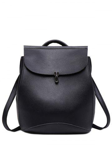 Fancy Faux Leather Flapped Backpack BLACK